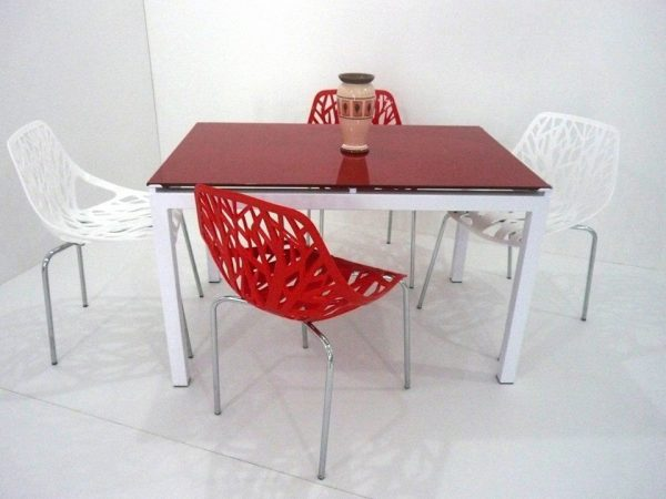 table agatha + chaise jungle rouge et blanc