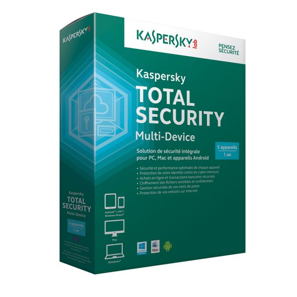 Kaspersky Total Security 1 an 5 postes