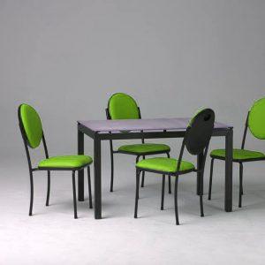 Table de cuisine Agatha vitre sablé 4 chaises armony capitonné