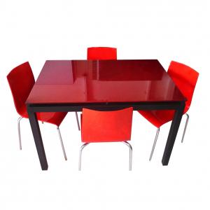 Table agatha vitre couleur + 4 chaises Zip