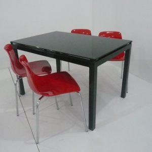 Table de cuisine agatha vitre noir + 4 chaises