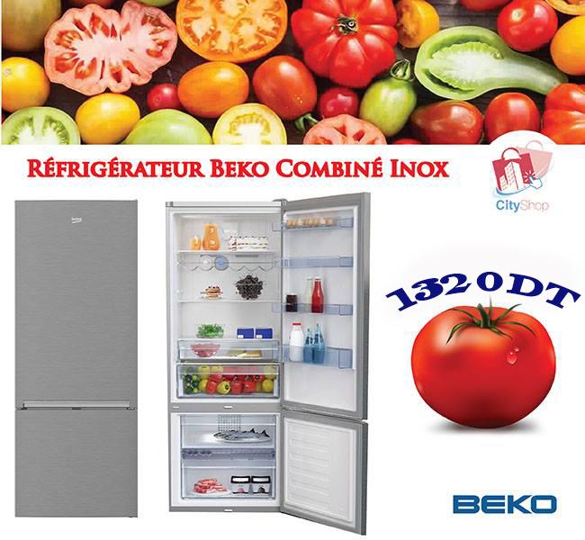 Réfrigérateur Beko Combiné Néo Frost inox 340L