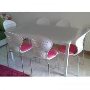 Table de cuisine agatha 150x90cm vitre sablé + 6 chaises spot capitonnées