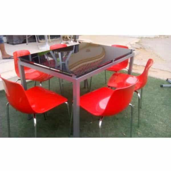 Table de cuisine agatha 120x80cm vitre coloré + 6 chaises pedos