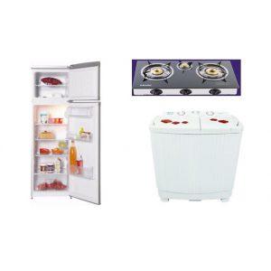 Pack Électroménager Cuisinière 3 feux + Machine à laver + Réfrigérateur