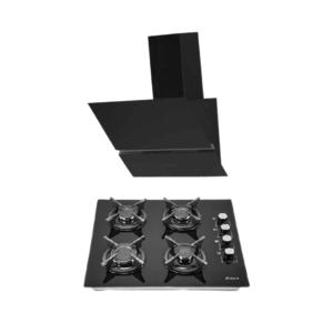 pack encastrable hotte + plaque noir
